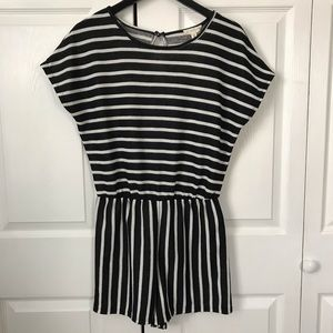 NWOT See You Monday black & white striped romper M
